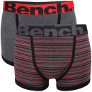 Bench Men's 2-Pack Boxers With Contrast Waistband - Red Stripe/Grey