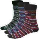 Ben Sherman Men's 3-Pack Sock - Grey, Blue and Red Stripe