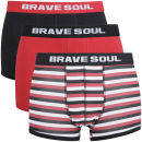 Brave Soul Mens 3-Pack Boxers - Red/Black/Stripe