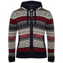 Brave Soul Men's Harisham Hooded Zip Thru Knit - Navy / Barley / Red