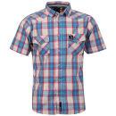 Benzini Men's Short Sleeved Check Shirt – Blue Zavvi por 20.79€