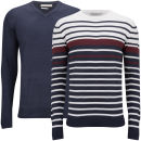 Brave Soul Men's Alexander 2 Pack Knitwear - Dark Navy/Ecru/Bordeaux
