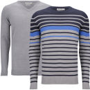 Brave Soul Men's Alexander 2 Pack Knitwear - Mid Grey Marl/Dark Navy/Royal Blue