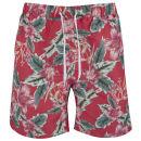 Soul Star Men's Hibiscus Swim Shorts - Coral