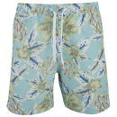Soul Star Men's Hibiscus Swim Shorts - Light Blue