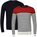 Brave Soul Men's Marc 2 Pack Knitwear - Ecru & Pillar Box Red