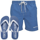 Tokyo Laundry Men's Miki Swim Shorts and Flip Flops - Federal Blue