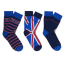 Pepe Jeans Men's Jake Gift Set 3 Pack Socks - Blue Stripe/Navy