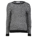 Moku Women's Monochrome Fluffy Knit Jumper - Black/White