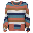 Vero Moda Women's Birut Stripe Pocket Jumper - Burnt Sienna