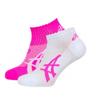 Asics Women's 2 Pack Running Socks - Magenta/Real White