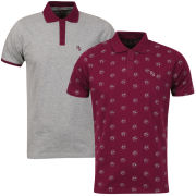 Ringspun Men's Rocka 2 - Pack Polos - Burgundy & Grey Marl