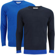 Brave Soul Men's Block Hem 2-Pack Knitted Jumpers - Dark Navy/Royal Blue