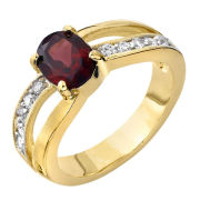 Gold Plated Red Garnet Ring