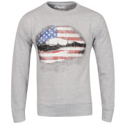 Cinch Men's Pucker Photo Print Crew Neck Sweatshirt - Grey Marl