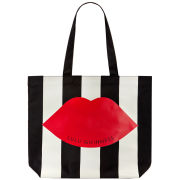 Lulu Guinness Lily Stripe Lip Tote - Black/White