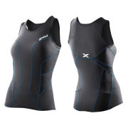 2XU Women's G:2 Long Distance Triathlon Singlet - Black/Ultramarine Blue