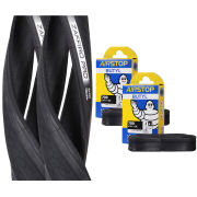 Michelin Pro 4 Race Service Course Clincher Road Tyre Twin Pack with 2 Free Inner Tubes - Black 700c x 25mm