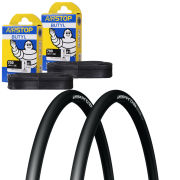 Michelin Pro 4 Race Service Course Clincher Road Tyre Twin Pack with 2 Free Tubes - Black 700c x 25mm