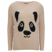Love Knitwear Women's Tinsel Panda Christmas Jumper - Pink