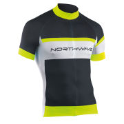 Northwave Men's Logo Short Sleeve Jersey - Black/White/Yellow