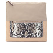 Diane von Furstenberg Women's Voyage Foldover Leather Clutch Bag - Leather Latte/Python Camo/Nude