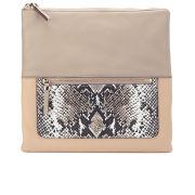 Diane von Furstenberg Women's Voyage Foldover Leather Clutch Bag - Leather Latte/Python Camo/Nude