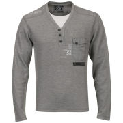 55 Soul Men's Y-Neck Jumper - Grey Marl
