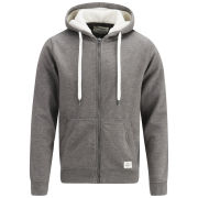 Jack and Jones Men's Marvin Fleece Lined Hooded Sweat - Grey Melange