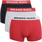 Brave Soul Mens 3-Pack Boxers - Black/Grey/Red