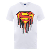 DC Comics Men's T-Shirt - Superman Drip Logo - White