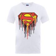 DC Comics Men's T-Shirt Superman Drip Logo - White