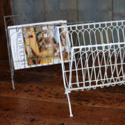 Nkuku Mena Magazine Rack - Distressed Grey / Cream - 38 x 37 x 28cm