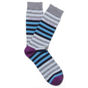 Ted Baker Men's Domdom Stripe Socks - Grey/Multi