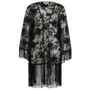 Neon Rose Women's Burnout Fringed Kimono - Black