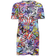 McQ Alexander McQueen Women's Graffiti Print T-Shirt Dress - Multi