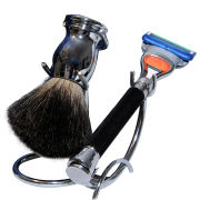 Razor MD iGRIP Black Shave Set (5 Blade Razor, Badger Shaving Brush and Shaving Stand)