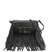 MILLY Isabella Fringe Leather Cross Body Bag - Black