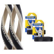 Michelin Pro 4 Race Service Course Clincher Road Tyre Twin Pack with 2 Free Tubes - White 700c x 23mm