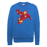 Marvel Avengers Assemble Armored Iron Man Simple Men's Sweatshirt - Royal Blue