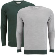 Brave Soul Men's Block Hem 2-Pack Knitted Jumpers - Mid Grey Marl/Bottle Green