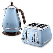 De'Longhi Icona Vintage 4 Slice Toaster and Kettle Bundle - Blue