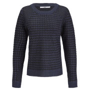 Only Women's Graffic Dogtooth Jumper - Navy