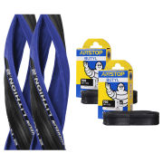 Michelin Lithion 2 Clincher Road Tyre Twin Pack with 2 Free Inner Tubes - Blue/Black 700c x 23mm
