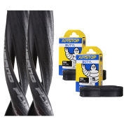 Schwalbe Durano Plus Clincher Road Tyre Twin Pack with 2 Free Tubes - Black 700c x 23mm