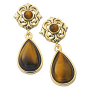 Gold Plated Tiger Eye Drop Earrings