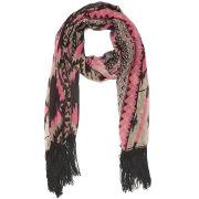 Impulse Women's Aztec Neon Tassel Scarf - Pink