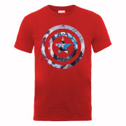Marvel Avengers Assemble Captain America Montage Symbol Men's T-Shirt - Red