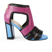 Kat Maconie Women's Georgia Patent Leather Colour Block Heels - Magenta/Blue/Black