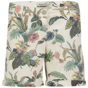 Maison Scotch Women's Boyfriend Denim Print Short - White/Multi